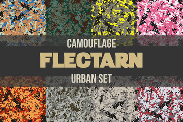 Set of Urban Flectarn Camouflage seamless patterns of different colors. Vector Illustration.