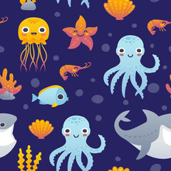 Vector illustration of funny cartoon jellyfish, starfish, octopus, shrimp, shark and fish. Seamless pattern with sea animals.