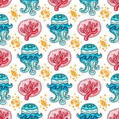 Vector nautical pattern. Seamless texture with hand drawn sea objects: coral branch, decorative jellyfish, seashells, and crab. Vector nautical background, Sea collection.