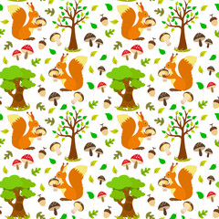 Seamless pattern with squirrels in the woods, deciduous forest, acorns, mushrooms.