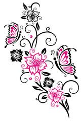 Kirschblüten mit Ranke und Schmetterlingen,. Cherry blossoms with butterflies.