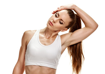 Woman stretching neck