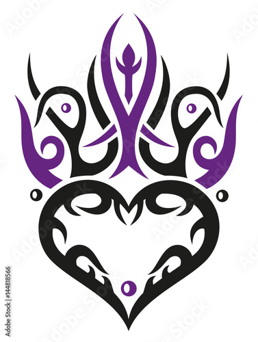 tribal und tattoo ornament herz mit dornen stock image and royalty free vector files on. Black Bedroom Furniture Sets. Home Design Ideas