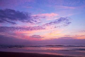 Wall Mural - Atlantic ocean sunset with pink and purple sky, Lacanau France