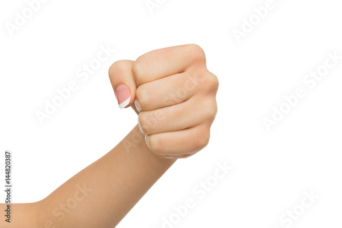 Hand gesture, woman clenched fist, ready to punch