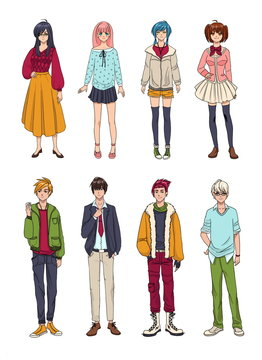 Set of cute anime characters. Cartoon girls and boys. Colorful hand drawn illustration collection.