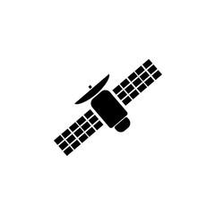 Pictogram satellite icon. Black icon on white background.