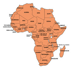 Map of Africa with all countries