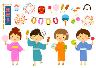 Set for summer festival in Japan - kids and related items.