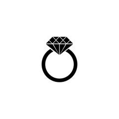 Pictogram ring with a diamond icon. Black icon on white background.