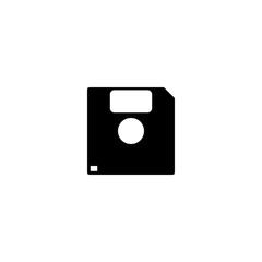 Pictogram diskette or floppy disk icon. Black icon on white background.