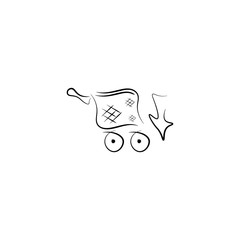 Pictogram online shoping icon. Black icon on white background.