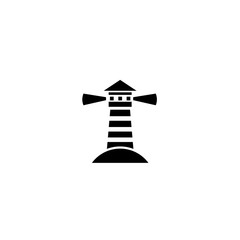 Pictogram lighthouse icon. Black icon on white background.