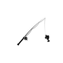 Pictogram fishing rod with fish icon. Black icon on white background.