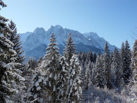 Wettersteingebirge im Winter, Grainau, Bayern, Deutschland