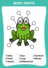Illustration of frog vocabulary part of body,Write the correct numbers of body parts