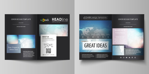 Black colored vector illustration of editable layout of two A4 format modern covers design templates for brochure, flyer, booklet. Polygonal geometric linear texture. Global network, dig data concept.