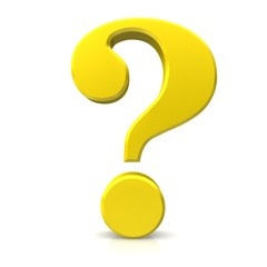 question mark 3d yellow gold white background rendering icon symbol sign