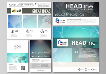 The minimalistic abstract vector illustration of the editable layout of modern social media post design templates in popular formats. Molecule structure, connecting lines and dots. Technology concept.
