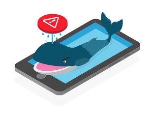 Blue whale, dangerous suicidal game on social media issue concept, isometric illustration