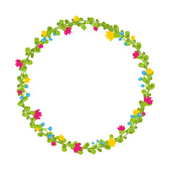 Cute thin spring floral wreath with berries and blooms isolated
