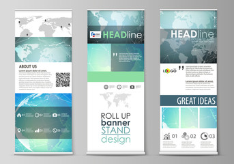 The minimalistic vector illustration of editable layout of roll up banner stands, vertical flyers, flags design business templates. Chemistry pattern, molecule structure, geometric design background.