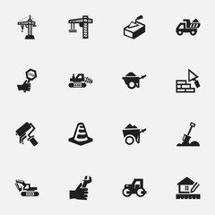 Set Of 16 Editable Building Icons. Includes Symbols Such As Facing, Notice Object , Handcart. Can Be Used For Web, Mobile, UI And Infographic Design.