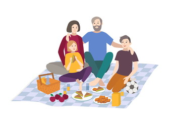 Picnic, vector illustration. Family with children together, outdoor relax. people recreation scene in flat style.