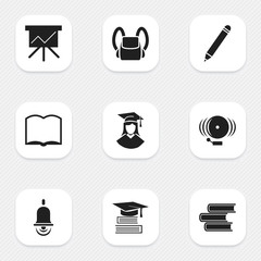 Set Of 9 Editable School Icons. Includes Symbols Such As Ring, Graduated Female, Schoolbag And More. Can Be Used For Web, Mobile, UI And Infographic Design.