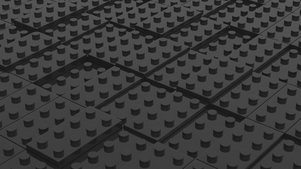 Connected black lego blocks. Abstract business background. 3D illustrating