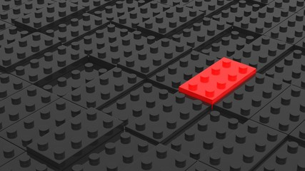 Connected black and red lego blocks. Abstract business background. 3D illustrating