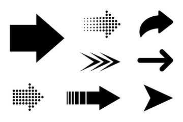 Set Arrow black icon. Arrow in flat style for your design