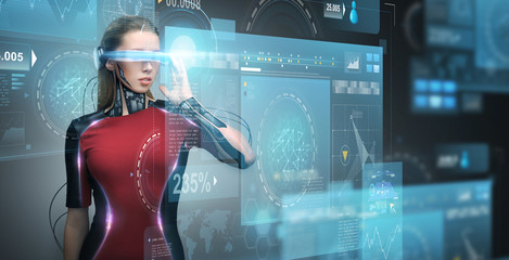 woman in virtual reality glasses and microchip