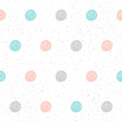 Doodle circle seamless pattern background.