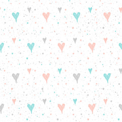 Doodle heart seamless pattern background.