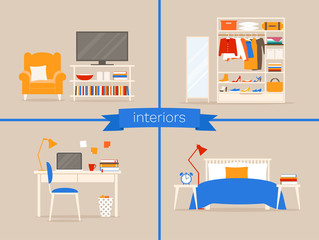 Vector set of interiors of living room, wardrobe, workplace, bedroom