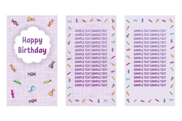 Happy Birthday greeting card. Three different vector patterns. Postcard in lilac colors with a candy.
