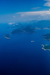 Montenegrin coast, view from the airplane. Aerial shooting