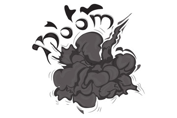 Cartoon explosion effect with smoke. Boom effect. Vector illustration.