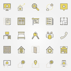House rent colorful icons