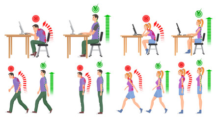 Man and woman in correct and wrong positions for spine. Vector illustration.