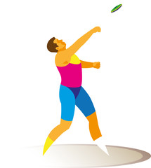 athlete discus thrower make attempt in sector