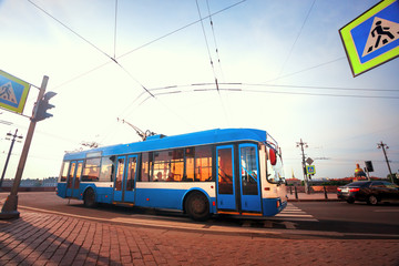 The trolley bus on the road  in St. Petersburg