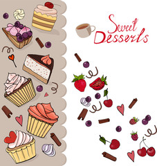 A set of sweet desserts. Confectionery, muffin, cookies, pie, cake, berries, chocolate, fruit and cream. White background. Red, yellow and brown. For the design of ads, postcards, restaurant menus.