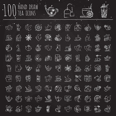 Tea hand draw icon set - cup, bag, kettle with spices and lemons, drawned with brushes for e-commerce