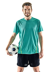 one caucasian soccer player man standing holding football isolated on white background