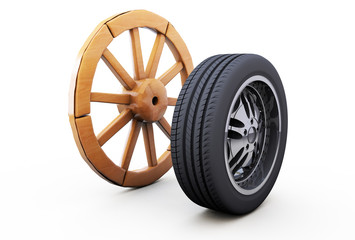 old wooden wheel and a modern car, the idea of development and improvement. 3D rendering on white background.