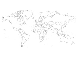 Search photos map outline world map with country borders thin black outline on white background simple high detail gumiabroncs Gallery