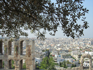 View of Athens with a white temple, Greece