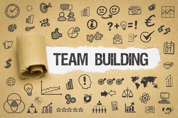 Team Building Papier mit Symbole